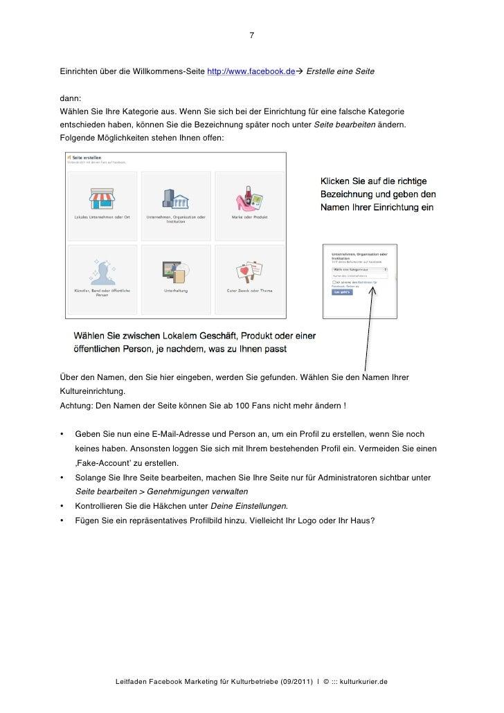 7Einrichten über die Willkommens-Seite http://www.facebook.deà Erstelle eine Seitedann:Wählen Sie Ihre Kategorie aus. Wen...
