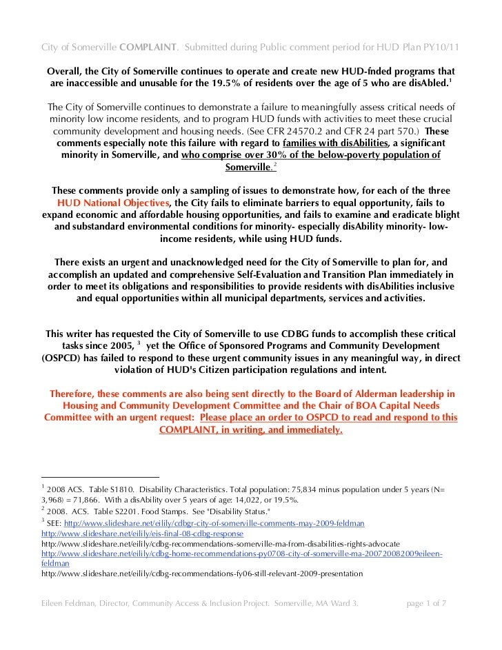 City of Somerville COMPLAINT. Submitted during Public comment period for HUD Plan PY10/11      Overall, the City of Somerv...