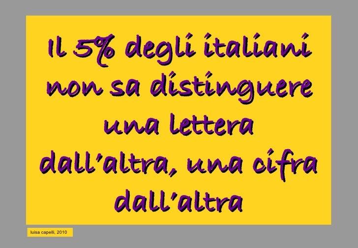 Il 5% degli italiani     non sa distinguere          una lettera     dall'altra, una cifra           dall'altra luisa cape...