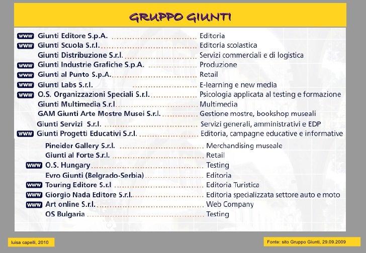 GRUPPO GIUNTI     luisa capelli, 2010                   Fonte: sito Gruppo Giunti, 29.09.2009