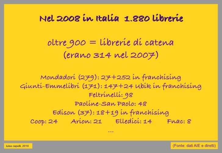Nel 2008 in Italia 1.880 librerie                         oltre 900 = librerie di catena                            (erano...