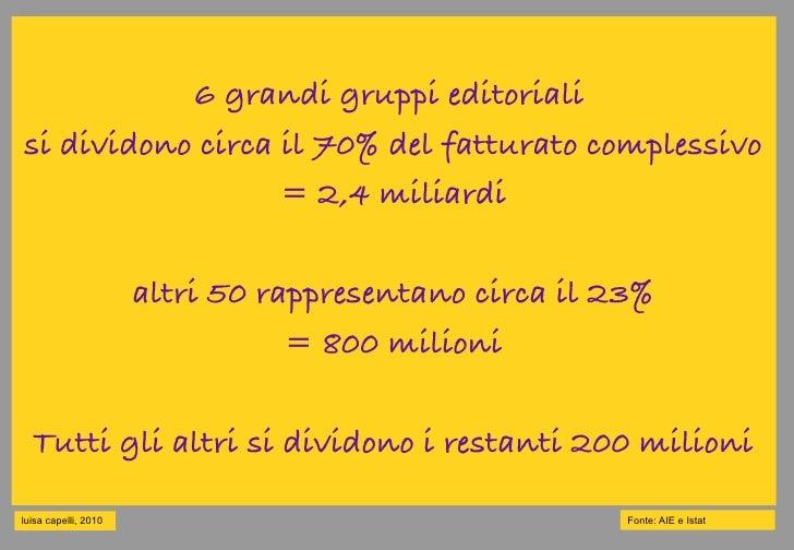 6 grandi gruppi editoriali si dividono circa il 70% del fatturato complessivo                   = 2,4 miliardi            ...