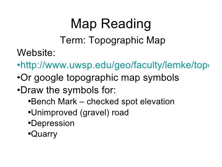 Map Reading <ul><li>Term: Topographic Map </li></ul><ul><li>Website: </li></ul><ul><li>http://www.uwsp.edu/geo/faculty/lem...