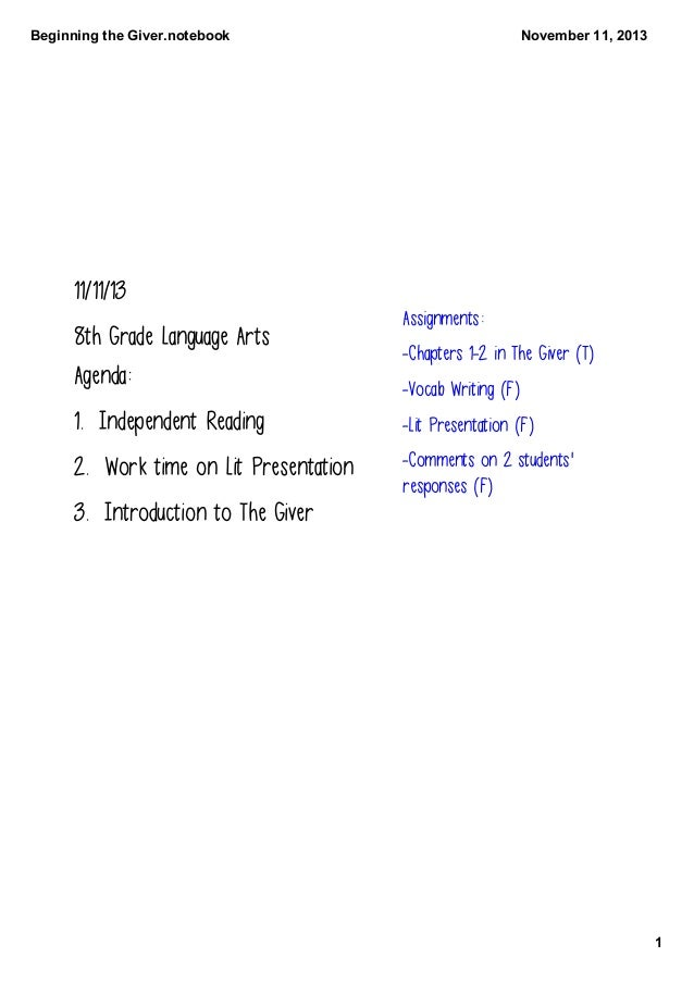 BeginningtheGiver.notebook  November11,2013  11/11/13 8th Grade Language Arts Agenda:  Assignments: -Chapters 1-2 in T...