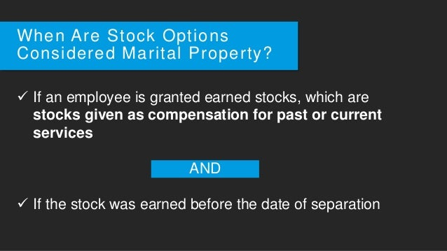Employee stock options in a divorce