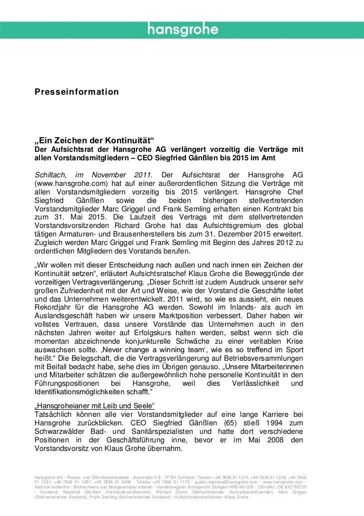 """Presseinformation""""Ein Zeichen der Kontinuität""""Der Aufsichtsrat der Hansgrohe AG verlängert vorzeitig die Verträge mitallen..."""