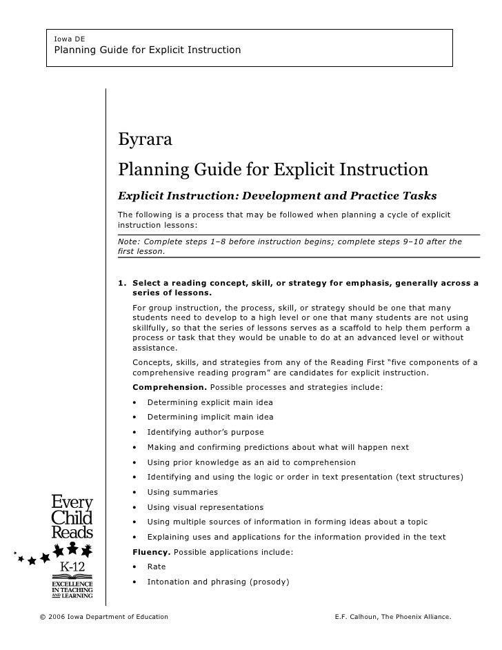 Iowa DE   Planning Guide for Explicit Instruction                     Бугага                     Planning Guide for Explic...