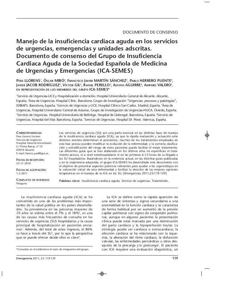 DOCUMENTO DE CONSENSOManejo de la insuficiencia cardiaca aguda en los serviciosde urgencias, emergencias y unidades adscri...