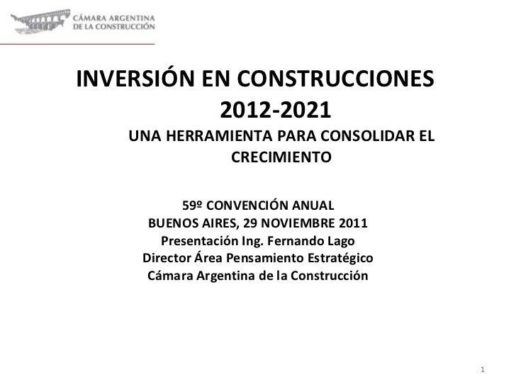 INVERSIÓN EN CONSTRUCCIONES  2012-2021  UNA HERRAMIENTA PARA CONSOLIDAR EL CRECIMIENTO 59º CONVENCIÓN ANUAL BUENOS AIRES ,...