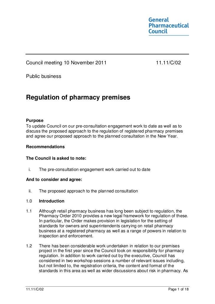 Council meeting 10 November 2011                                     11.11/C/02Public businessRegulation of pharmacy premi...