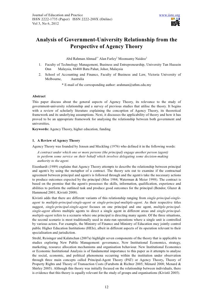 analysis of agency theory Information systems project management: an agency theory interpretation  agency theory offers a  ms deutschan exploratory analysis relating the software.