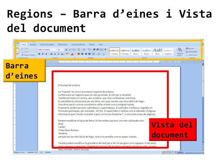 Regions – Barra d'eines i Vistadel documentBarrad'eines                     Vista del                     document