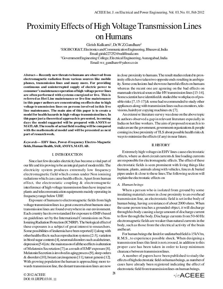 ACEEE Int. J. on Electrical and Power Engineering, Vol. 03, No. 01, Feb 2012  Proximity Effects of High Voltage Transmissi...