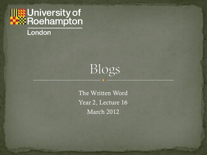 The Written Word Year 2,  Lecture 16 March 2012