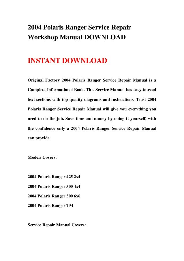 Service Manual for 2004 Polaris Ranger 500 4x4