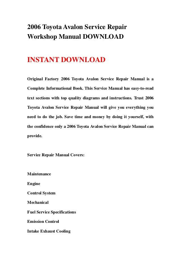 2006 toyota avalon service repair workshop manual download rh slideshare net 2006 Avalon Limited 2006 Avalon Interior