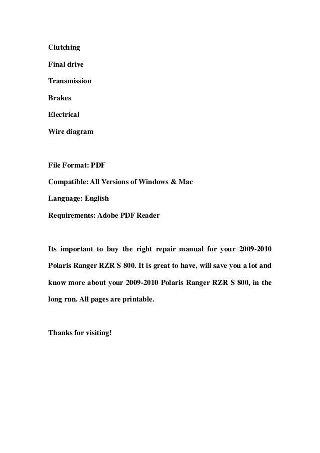 2009-2010 Polaris Ranger RZR S 800 Service Repair Workshop Manual DOW…