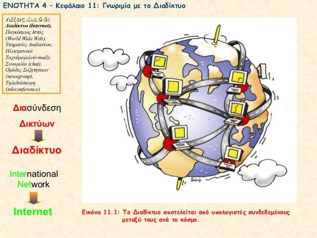 ΕΝΟΤΗΤΑ 4 – Κεφάλαιο 11: Γνωριμία με το ΔιαδίκτυοΛέξεις Κλειδιά:Διαδίκτυο (Ιnternet),Παγκόσμιος Ιστός(World Wide Web),Υπηρ...