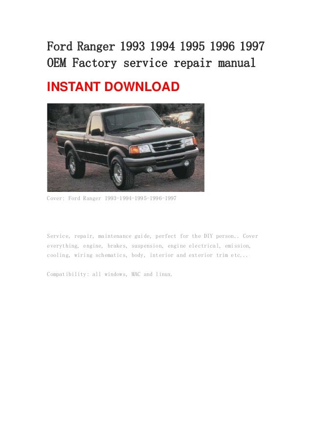 1998 Ford Ranger Owners Manual User Guide