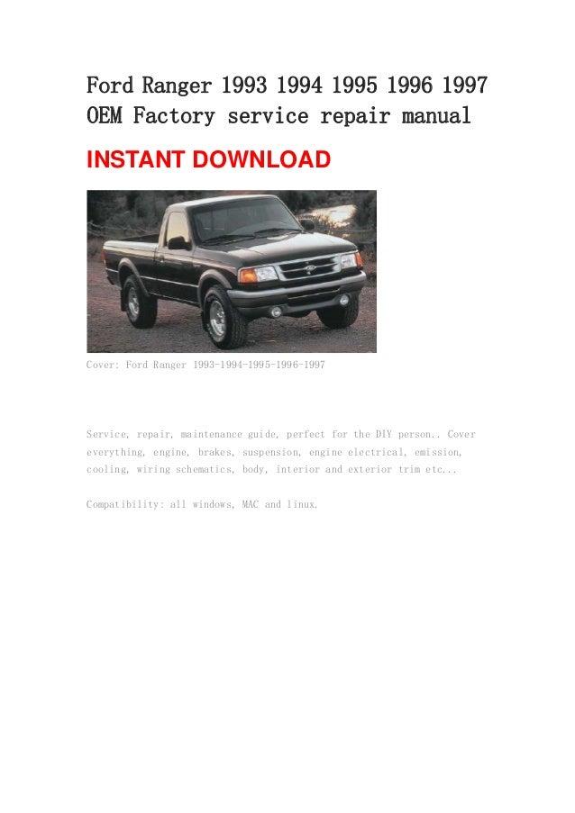 ford ranger 1993 1994 1995 1996 1997 manual rh slideshare net 1999 Ford Ranger Owners Manual 2000 Ford Ranger Owners Manual