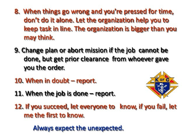 8. When things go wrong and you're pressed for time, don't do it alone. Let the organization help you to keep task in line...