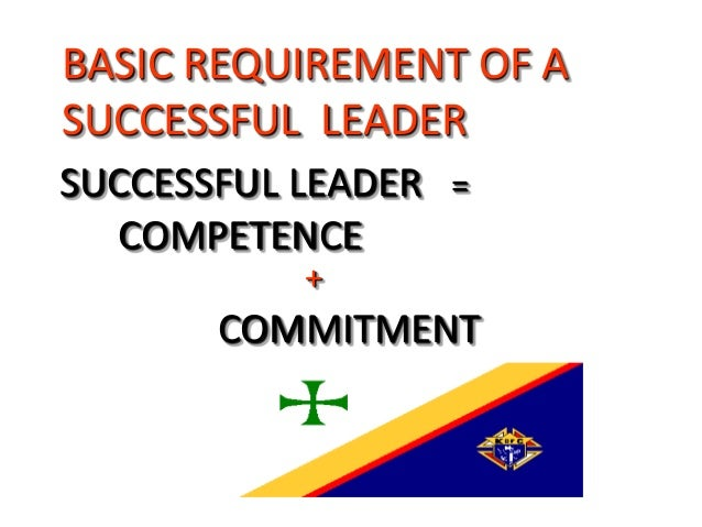 SUCCESSFUL LEADER = COMPETENCE + COMMITMENT BASIC REQUIREMENT OF A SUCCESSFUL LEADER