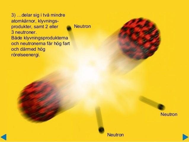 3) …delar sig i två mindre atomkärnor, klyvnings- produkter, samt 2 eller 3 neutroner. Både klyvningsprodukterna och neutr...