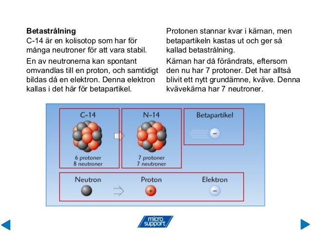 Betastrålning C-14 är en kolisotop som har för många neutroner för att vara stabil. Protonen stannar kvar i kärnan, men be...