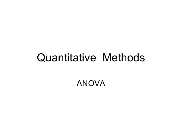 Quantitative Methods ANOVA