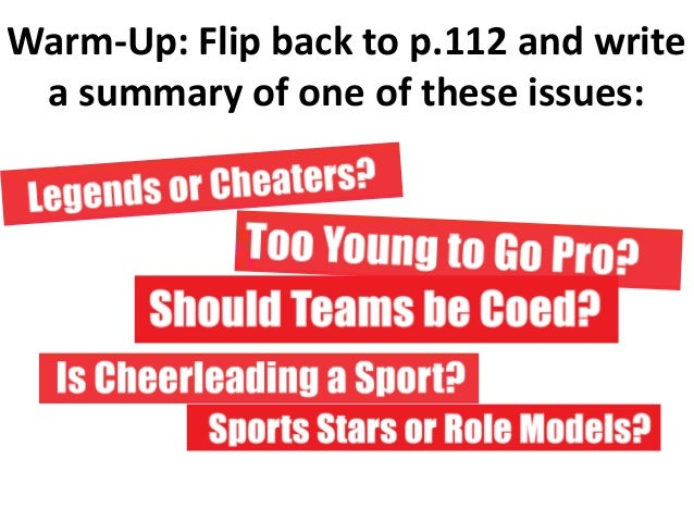 Warm-Up: Flip back to p.112 and writea summary of one of these issues: