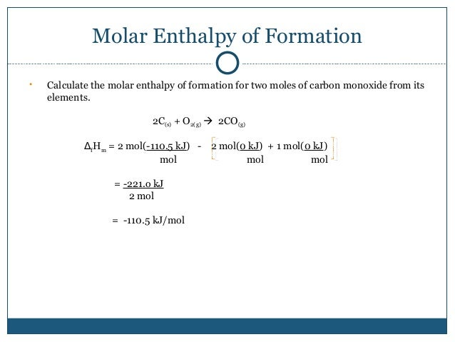 molar enthalpy of a chemical change lab We did this lab in class, and i have some questions this was the procedure of lab 1) add 50ml of 10 mol/l sodium hydroxide solution to a polystyrene calorimeter.