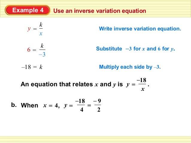 Inverse Variation Formula 11.1