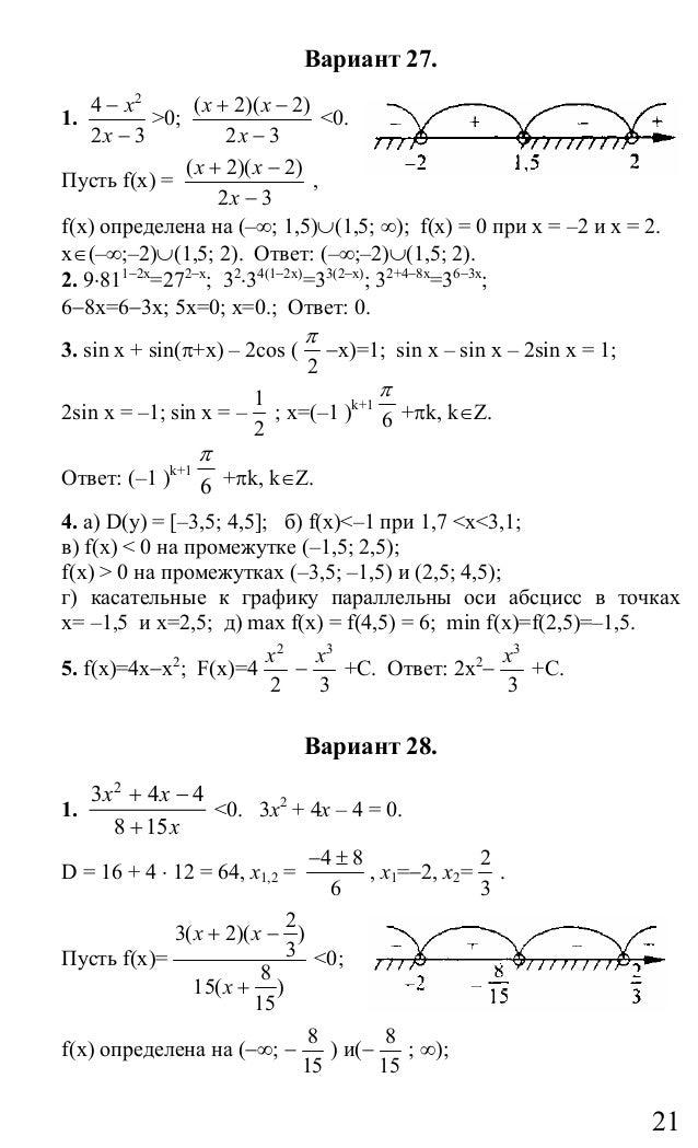 По решебник алгебре экзамена для