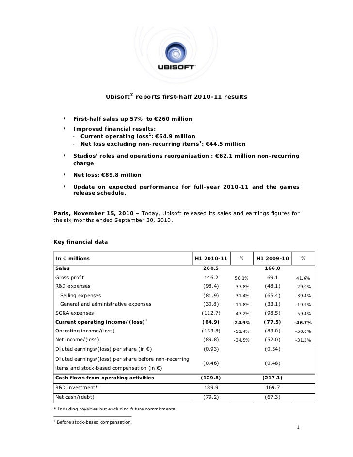 Ubisoft® reports first-half 2010-11 results           First-half sales up 57% to €260 million           Improved financi...