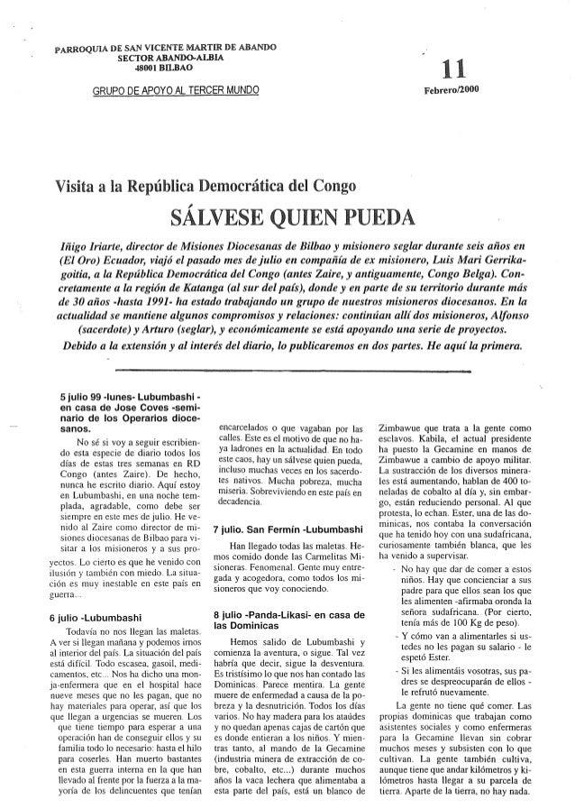 PARROQUIA m:  SAN vrcsms MARTIR DE ABANDO SECTOR ABANDO-AIBLA  4800] BILBAO  GRUPO DE APOYO AL TERCER MUNDO  Visita a la R...