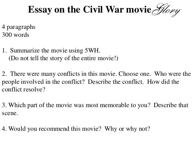 essay about glory Free essay: glory the movie glory was a wonderful depiction of the group of men involved in the 54th massachusetts colored regiment the men of the 54th.