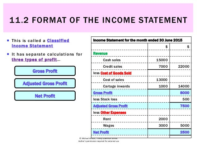 ... FORMAT OF THE INCOME STATEMENT; 4.