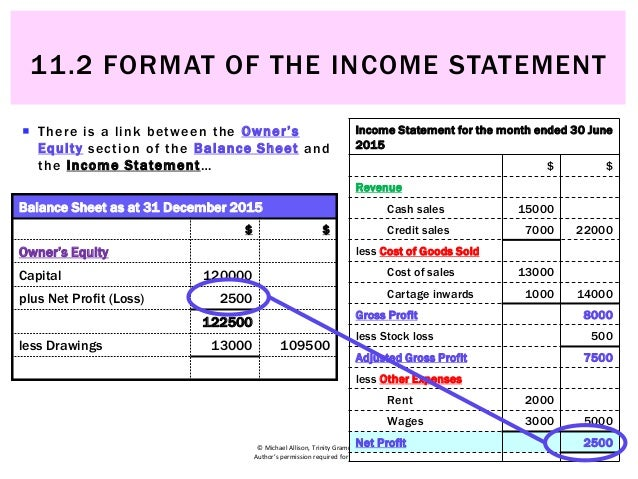 11.2 Format Of The Income Statement