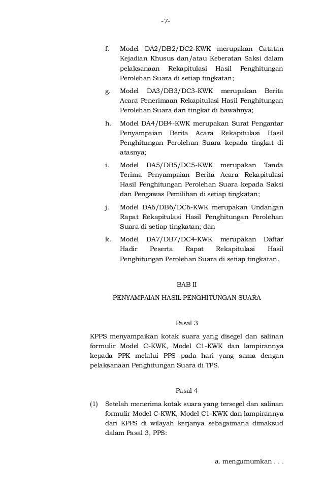 Peraturan Kpu Nomor 11 Tahun 2015 Tentang Rekapitulasi Penghitungan S