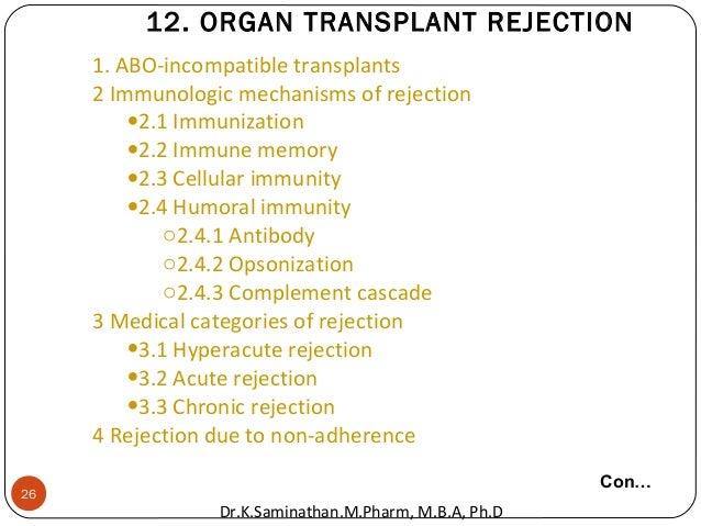 26 1. ABO-incompatible transplants 2 Immunologic mechanisms of rejection •2.1 Immunization •2.2 Immune memory •2.3 Cellula...