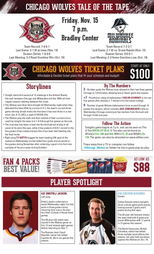 CHICAGO WOLVES TALE OF THE TAPE Friday, Nov. 15 7 p.m. Bradley Center Team Record: 7-2-2-1 Last Game: 2-1 W vs. Grand Rapi...