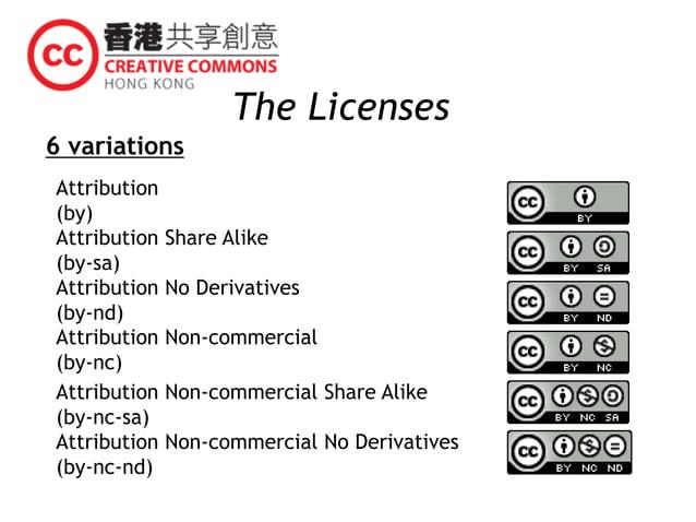 Attribution Non-commercial No Derivatives (by-nc-nd) Attribution Non-commercial Share Alike (by-nc-sa) Attribution Non-com...