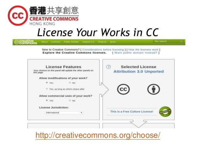 License Your Works in CC http://creativecommons.org/choose/