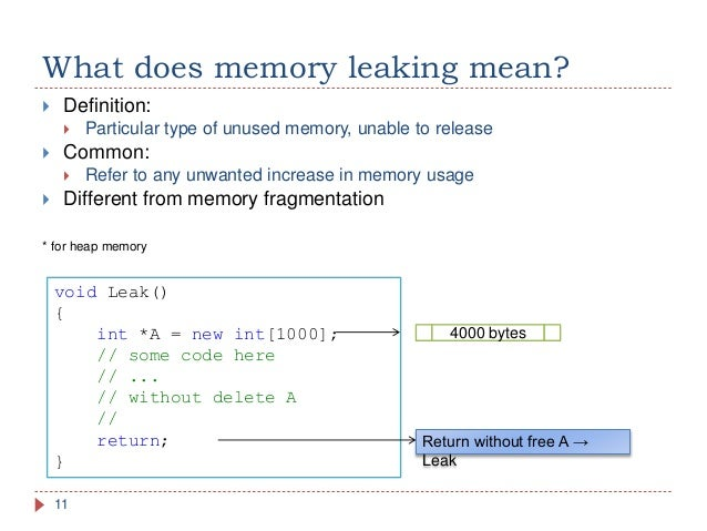 C++ memory leak detection