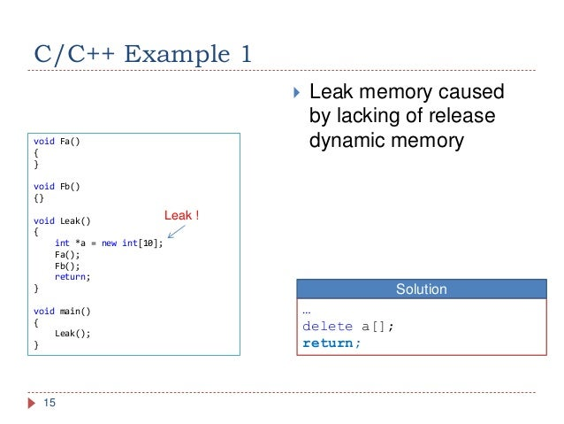 how to detect memory leak in c
