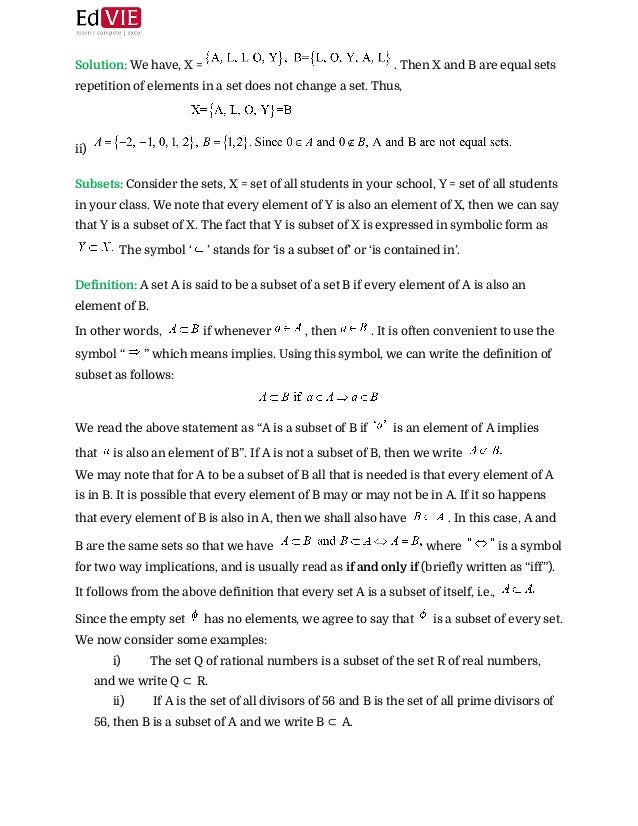 Cbse Class X Mathematics Set Theory Topic