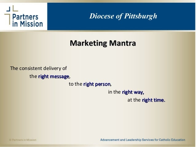 Marketing MantraMarketing Mantra The consistent delivery of the right messageright message, to the right personright perso...