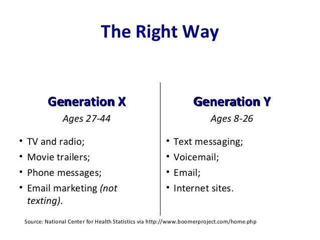 The Right Way Generation XGeneration X Ages 27-44 • TV and radio; • Movie trailers; • Phone messages; • Email marketing (n...