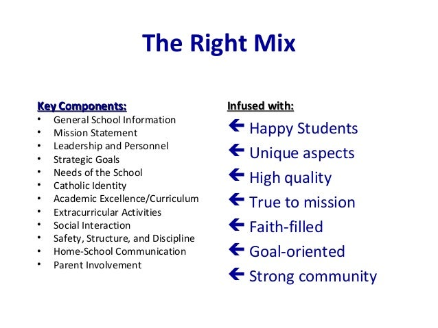 The Right Mix Key Components:Key Components: • General School Information • Mission Statement • Leadership and Personnel •...