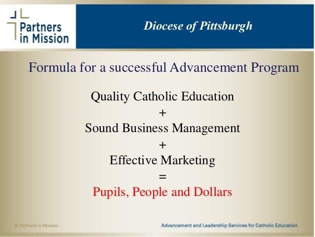Formula for a successful Advancement Program Quality Catholic Education + Sound Business Management + Effective Marketing ...